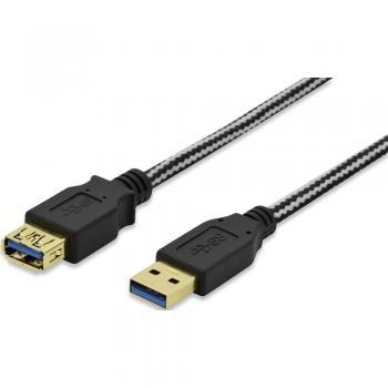 USB 3.0 podaljšek [1x USB 3.0 vtič A - 1x USB 3.0 vtičnica A] 1.80 m črn pozlačen