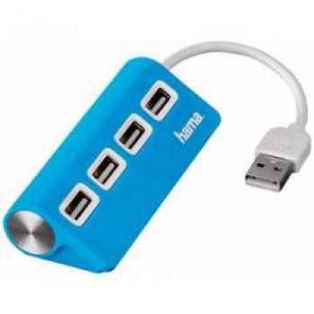 Razdelilnik za USB Hama, 4 vhodni USB 2.0-, moder