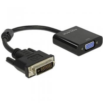 DVI / VGA adapter [1x DVI-vtikač 24+1pol. => 1x VGA-vtičnica] črne barve s feritnim jedrom Delock