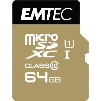 EMTEC MicroSD Card 64GB SDXC UHS1 U1 CL.10 Gold +Adapter