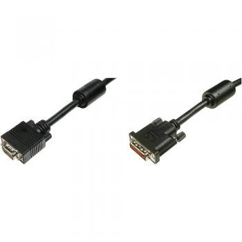 DVI / VGA priključni kabel [1x DVI-vtič 24+5pol. <=> 1x VGA-vtič] 2 m črn 2048 x 1152 pikslov Digitus