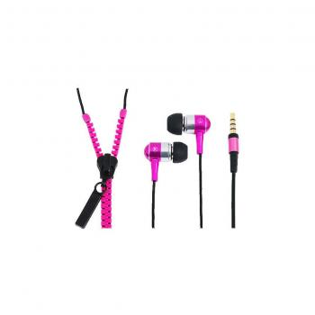 LogiLink slušalke Zipper za v uho, z mikrofonom, roza