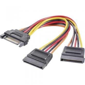 Tokovni Y-adapter [1x SATA-tokovni vtič 15pol. - 2x SATA-tokovna vtičnica 15pol.] 0.15 m črna, rdeča, rumena Renkforce