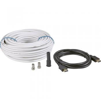 Komplet za priključitev SAT-TV (SAT-koaksialni kabel, [25 m] + HDMI-kabel + 2x F-vtič+zaščitni tulec)