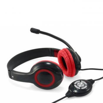 CONCEPTRONIC Slušalke z mikrofonom, stereo, žične, rdeče