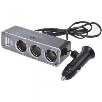 3-smerni razdelilnik z USB polnjenjem, cigaretni vtič