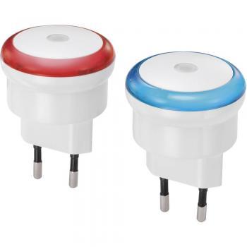 Nočna lučka Renkforce Rueda, okrogla, LED, rdeča/modra svetloba, bela barva, EMN100X2, 2-delni komplet