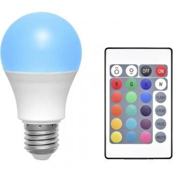LED žarnica E27 klasična oblika 6 W RGBW (premer x D) 60 mm x 108 mm EEK: A Basetech spreminjanje barv, zatemnilna, vklj. daljin