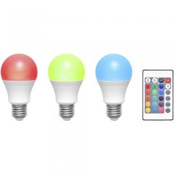 LED žarnica E27 klasična oblika 6 W RGBW (premer x D) 60 mm x 108 mm EEK: A Basetech spreminjanje barv, zatemnilna, vklj. daljinec