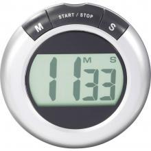 LCD časomer (Ø x G) 80 mm x 20 mm srebrne barve