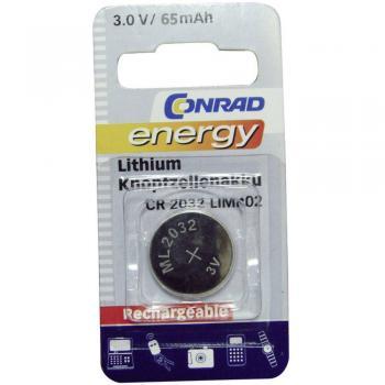 Gumbni akumulator CR 2032 litijev Conrad energy ML2032 65 mAh 3 V, 1 kos