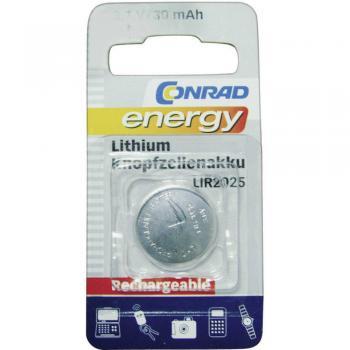 Gumbni akumulator LIR 2025 litijev Conrad energy LIR2025 30 mAh 3.6 V, 1 kos