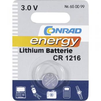 Gumbna baterija CR 1216 litijeva Conrad energy CR1216 25 mAh 3 V, 1 kos