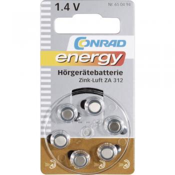 Gumbna baterija ZA 312 cink-zrak Conrad energy PR41 baterija za slušni aparat 160 mAh 1.4 V, 6 kosov