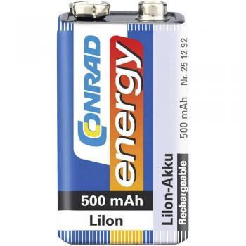 9 V Block akumulator Li-Ion Conrad energy 6LR61 500 mAh 7.2 V