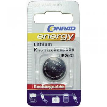 Gumbni akumulator LIR 2032 litijev Conrad energy LIR2032 45 mAh 3.6 V, 1 kos