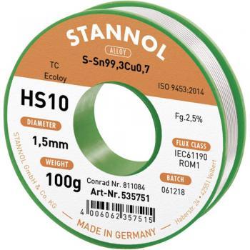 Neosvinčena žica za spajkanje Stannol HS10 Sn99Cu1 100 g 1.5 mm
