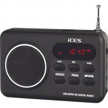 UKV Prenosni radio ICES IMPR-112 SD, UKV, USB polnilni črna