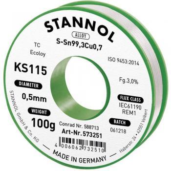 Neosvinčena žica za spajkanje Stannol KS115 SN99Cu1 100 g 0.5 mm