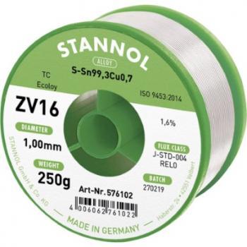 Stannol ZV16 spajkalna žica, neosvinčena neosvinčeni Sn0.7Cu 250 g 1.0 mm