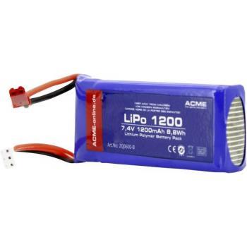ACME baterija za modelarstvo, LIPo, 7.4V, 1200 mAh, št. celic: 2, Softcase BEC socket