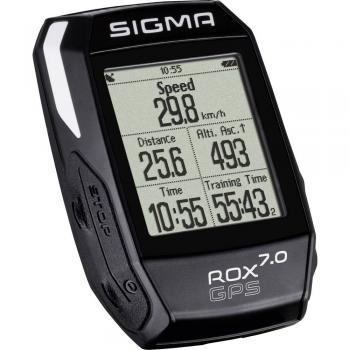 Kolesarski števec, brezžični Sigma ROX 7.0 GPS črne barve, kodiran prenos
