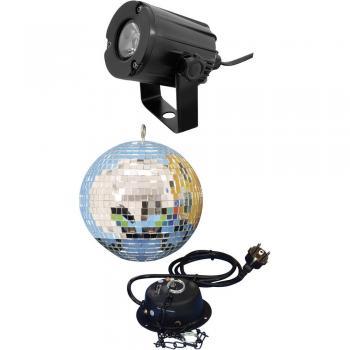 Zrcalna disko krogla 200 mm zmotorjem in točkovnim LED reflektorjem 50101856 Eurolite