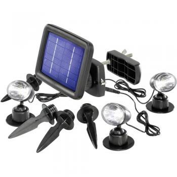 Solarni LED reflektor, hladno bela, Renkforce črna