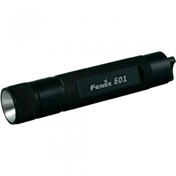 LED mini-žepna luč Fenix za na obesek za ključe E01 baterijski pogon 10 lm 14 g črne barve
