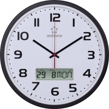 Renkforce HD-WRCL135 32 cm x 4.5 cm radijsko vodena stenska ura črne barve